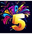 Fireworks Happy Birthday with a gold number 5 vector image