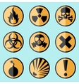 Flat warning signs labels vector image vector image