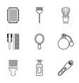 hairdressing salon icons set outline style vector image vector image