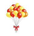 helium flying elements decorated red bow balloons vector image