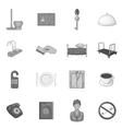 Hotel icons set in black monochrome style vector image vector image