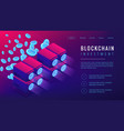 isometric blockchain investment landing page vector image vector image