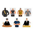justice people prisoner and defendant policeman vector image vector image