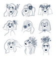 line art set woman with flowers vector image vector image