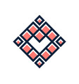 love pixel heart logo simple square poly vector image vector image