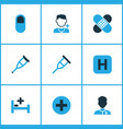 medicine icons colored set with patch plus stand vector image