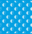 moon and stars pattern seamless blue vector image