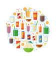 non alcoholic drinks in circle shape vector image vector image