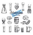 oktoberfest set beer products vector image