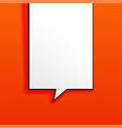 orange background with empty chat bubble vector image vector image