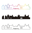 Palermo skyline linear style with rainbow vector image vector image