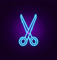 scissors neon sign vector image