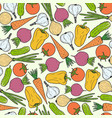 seamless pattern of vegetables carrot garlic vector image