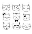 set of sticker cute cat vector image vector image