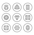 set round line icons gem vector image vector image