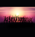 silhouettes people dancing in a sunset vector image vector image