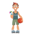 smiling boy and a basketball ball vector image vector image