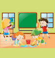 students cleaning classroom together vector image vector image