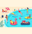 swimming pool party men and women in swimsuit vector image vector image