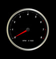 tachometer on black background vector image vector image