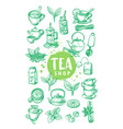 tea package with hand drawn cups and leaves vector image