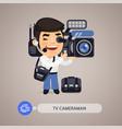 television cameraman flat cartoon character vector image vector image