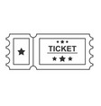 ticket black line icon on white background vector image vector image