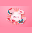 valentines day paper cut chocolate box card vector image