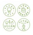 vegan round badges vector image vector image