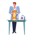 veterinarian male examining cat pet on table vector image vector image