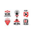 vlog logo design collection video blog channel vector image vector image