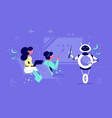 white robot explain lecture with pointer vector image vector image