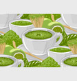 white round cups matcha tea surrounded green vector image