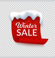 winter sale banner red paper with snow cap vector image vector image