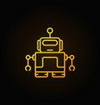 yellow robot with antenna icon in thin line vector image