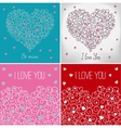 Collection of greeting cards with floral heart vector image