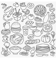 Doodle food icons hand drawn set vector image