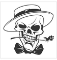 Skull with rose in teeth vector image