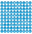 100 internet icons set blue vector image vector image