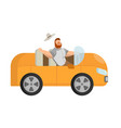 a picture of how a bearded man travels in an vector image vector image
