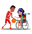 asian girl in wheelchair with afro american boy vector image vector image