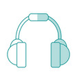 blue shading silhouette of headset stereo sound vector image vector image