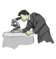 businessman looking through microscope vector image