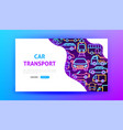 car transport neon landing page vector image