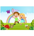 Cartoon kids catching butterfly in the jungle vector image
