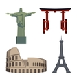 Christ Statue Coliseum Eiffel Tower Portal or vector image vector image