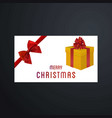 christmas card with red bow and giftbox vector image