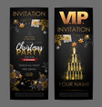 christmas poster with golden champagne bottles vector image vector image