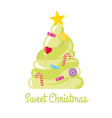 christmas tree made of sweets and candies vector image vector image
