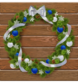 Christmas Wreath on Wooden Board 3 vector image vector image